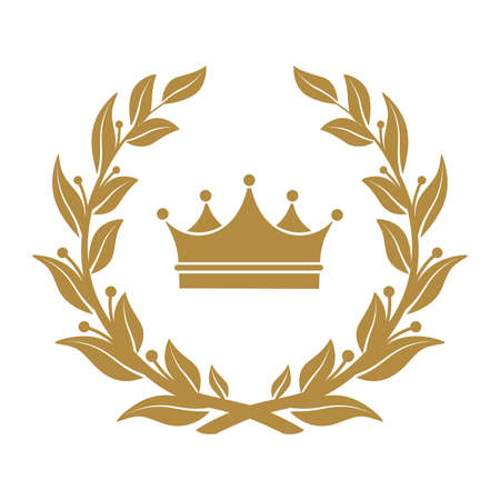 Corona símbolo heráldico en hojas de laurel.