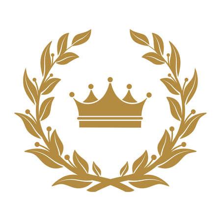 Heraldyczny symbol korony w liściach laurowych.