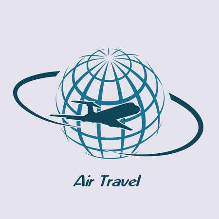 Airliner flying around the planet. Ilustração
