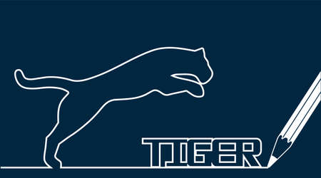 bouncing tiger pencil drawing  イラスト・ベクター素材