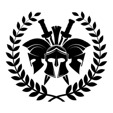 Spartan helmet military symbol vector icon. Ilustração Vetorial