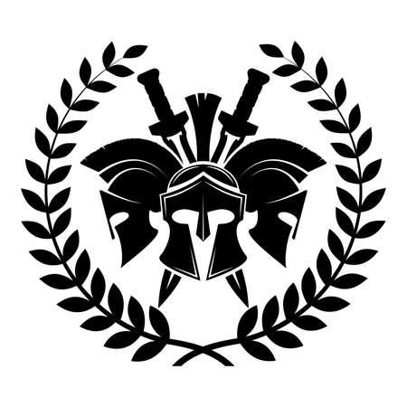 Spartaner Helm militärisches Symbol Vektor Icon. Vektorgrafik