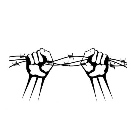 hands holding barbed wire