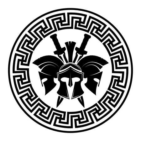 Icono de vector de símbolo militar de casco espartano.