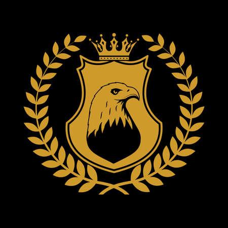 Heraldic shield symbol in laurel leaves