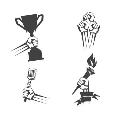 set of icons of items in hand Stock Illustratie