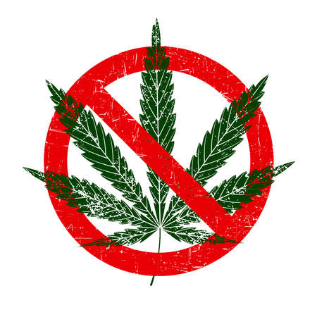 prohibition sign cannabis use grunge icon