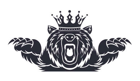 angry bear with a crown on his head