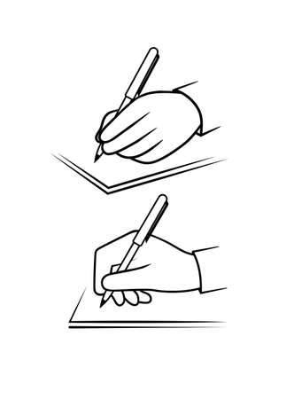hand with pen writes on paper vector icon Stock Illustratie