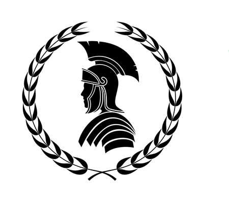roman centurion icon in laurel wreath Stock Illustratie
