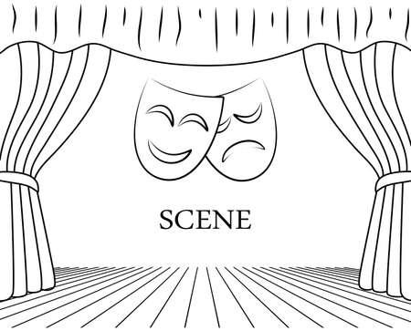 theater scene with masks vector illustration