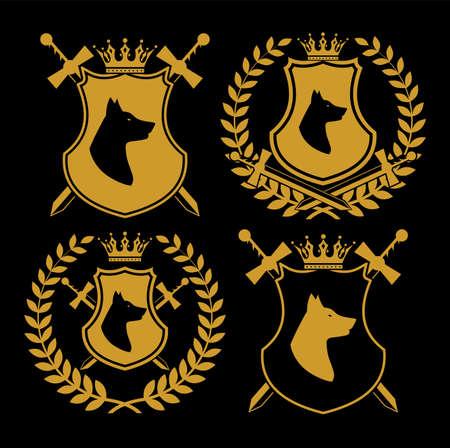 heraldic symbol icon set with shield and swords. Stock Illustratie