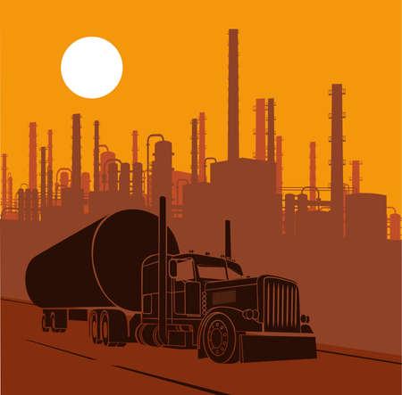 industrial landscape fuel truck carrying fuel Stock Illustratie