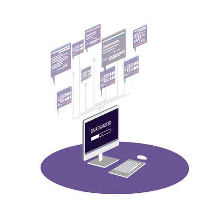 isometric computer icon graphics data exchange Stock Illustratie