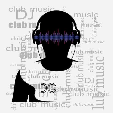 DJ silhouette monochrome poster