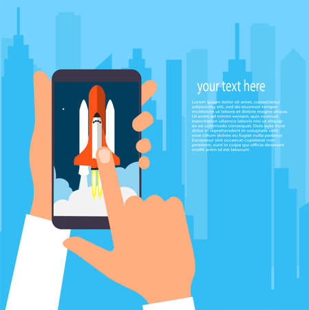 rocket launch in mobile phone vector illustration