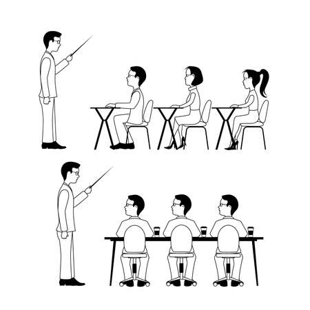 A group of students. A training seminar .Speaking to the audience flat style Stock Illustratie