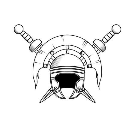 roman centurion helmet vector illustration