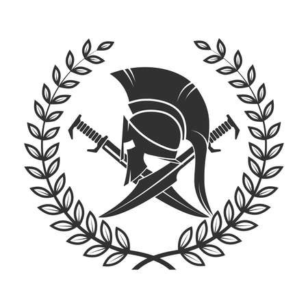 old shabby symbol of spartan warrior