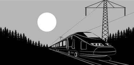 high speed train motion vector illustration Illustration