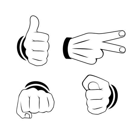 set of hand gestures vector illustration
