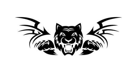 tatuaje, atacar, tigre, vector, ilustración