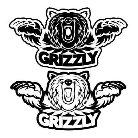 angry grizzly bear badge vector illustration Stock Illustratie