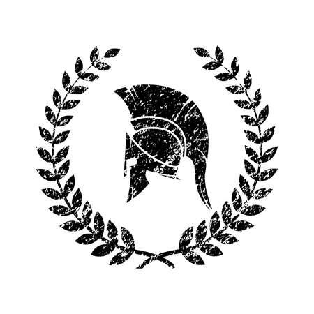 altes schäbiges Symbol des spartanischen Kriegers im Grunge-Stil