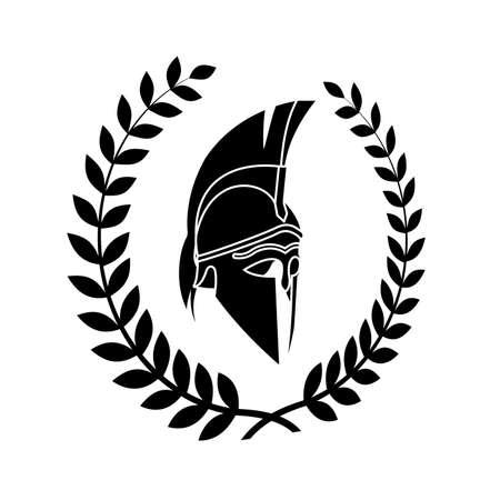 viejo símbolo en mal estado del guerrero espartano Ilustración de vector