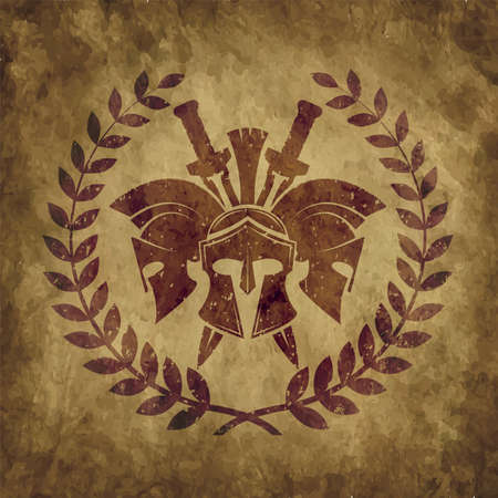 old shabby symbol of Spartan warrior in grunge style
