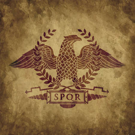 vintage symbol of the Roman eagle on an old shabby texture. Çizim