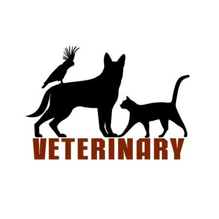 Veterinary symbol, treatment of pets, vector illustration.