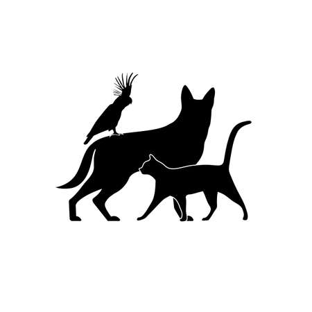 silhouette group of pets vector illustration
