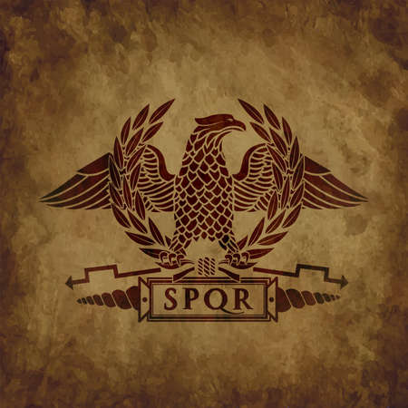 symbol of the Roman eagle on an old shabby texture.