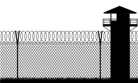 Prikkeldraad gevangenis hek vectorillustratie