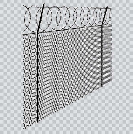 barbed wire fence on transparent background Ilustracja