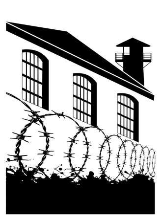 monochrome Silhouette einer Gefängnisvektorillustration
