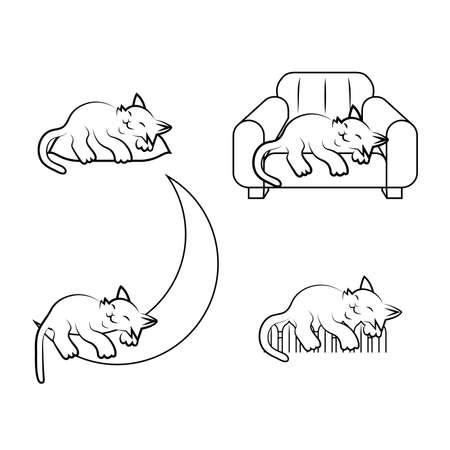 set sleeping cat vector illustration Vektorové ilustrace