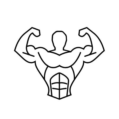 muscular silhouette man fitness symbol