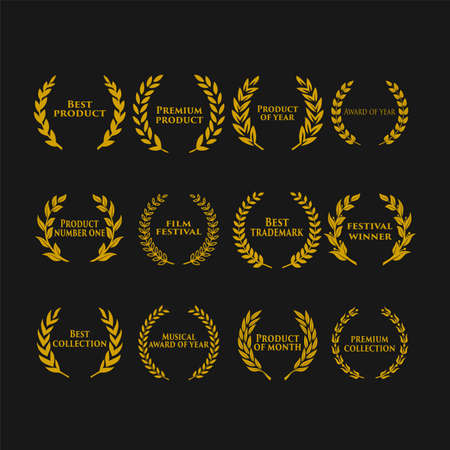 Award icon with text in a laurel wreath vector illustration. 向量圖像