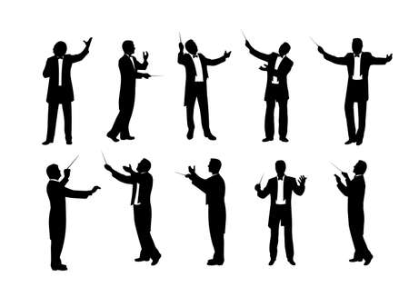 set of conductor silhouettes vector illustration