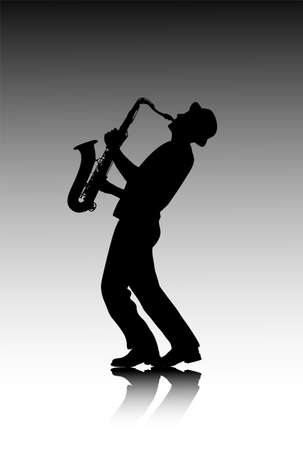 male saxophonist silhouette Stock Illustratie