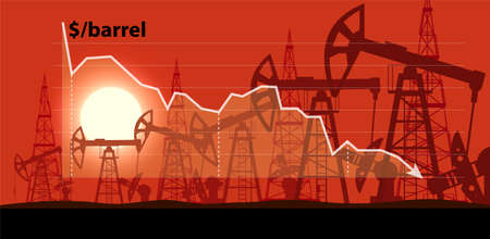 Industrial landscape of oil production against the background of a graph of falling prices per barrel vector illustration