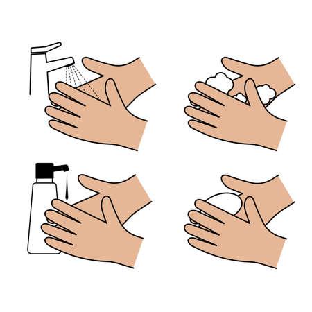 Hand hygiene icon set vector icon
