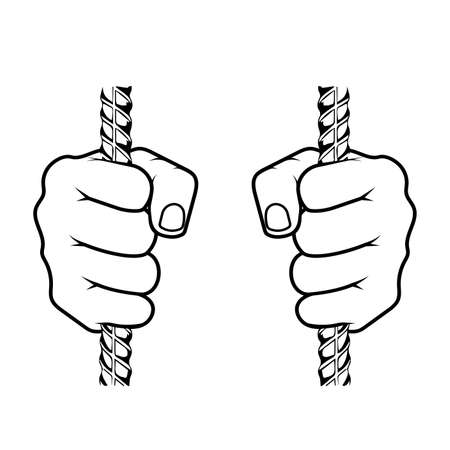 Hands clasping an iron grate vector illustration 向量圖像