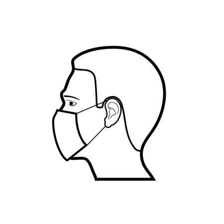 icon human in a protective mask vector illustration
