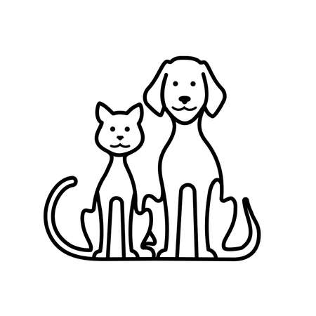 Pets cat and dog vector icon