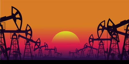 Industrial landscape of oil production vector illustration