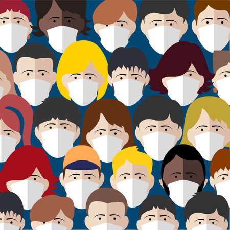background of people in a protective mask vector illustration