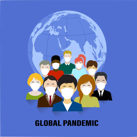 Global pandemic masked people on planet background vector illustration Иллюстрация